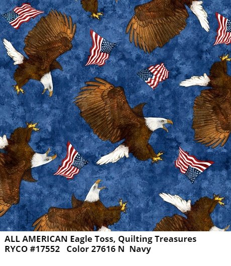 All American by Quilting Treasures- Eagle Toss Navy