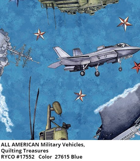 All American by Quilting Treasures- Military Vehicles Blue