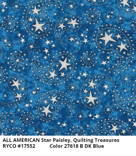 All American by Quilting Treasures- Star Paisley Dark Blue