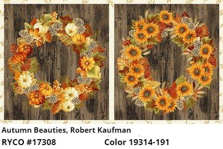 Autumn Beauties Metallic Panel by Robert Kaufman