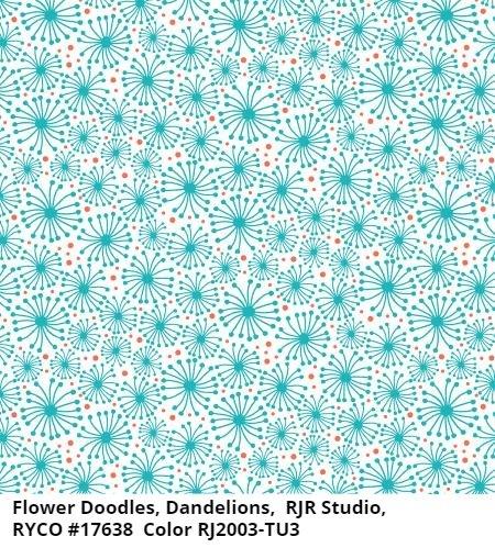 Flower Doodles Dandelions Turquoise by RJR Studio