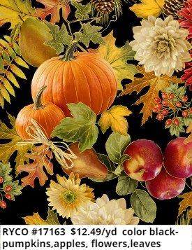 Harvest Foliage by Timeless Treasures (HARVEST-CM7655-BLACK)