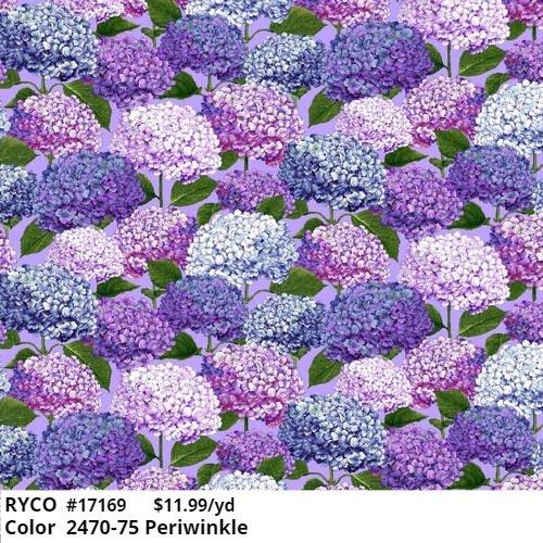 Henry Glass Dragonfly Garden Hydrangea  2470-75 Periwinkle