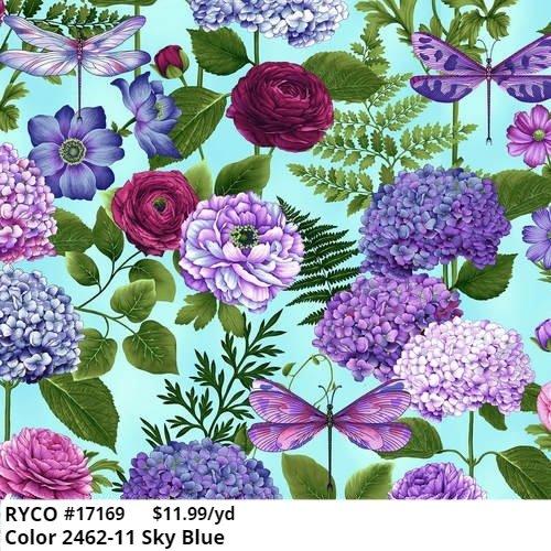 Henry Glass Dragonfly Garden Hydrangea Bouquets 2462-11 Sky Blue