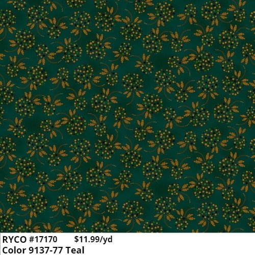 Henry Glass October Morning Meadow 9137-77 Teal