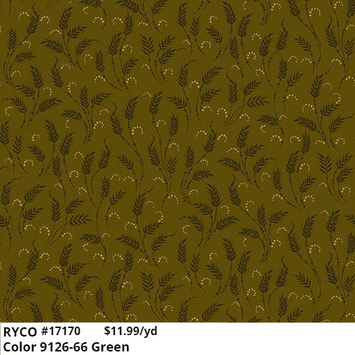 October Morning by Kim Diele & Henry glass - color Waving Wheat 9126-66 Green
