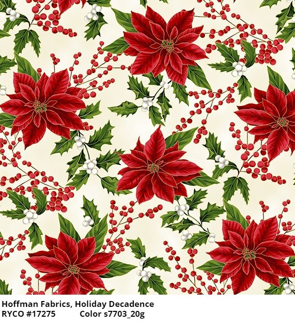 Poinsettias by Hoffman metallic accents