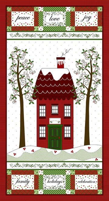 Holly Hill Christmas Panels by Henry Glass & Co (2478P-88 RED)
