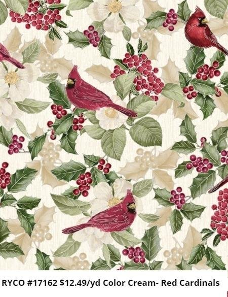 Holiday Metallic Red Cardinals by Timeless Treasures (CM7759-CREAM)
