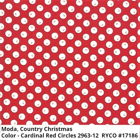 Country Christmas by Bunny Hill Designs & Moda ( 2963-12Cardinal Red Circles)