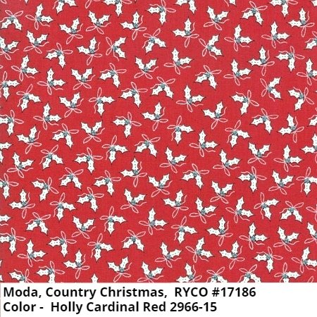 Moda Country Christmas Holly Cardinal Red 2966-15