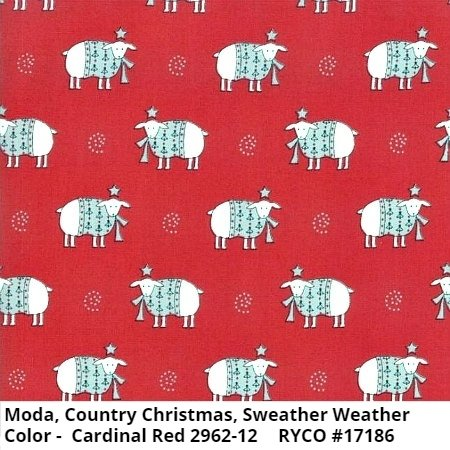 Moda Country Christmas Sweather Weather Cardinal Red 2962-12