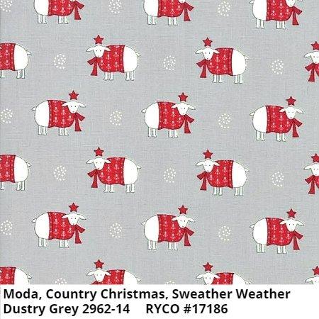 Moda Country Christmas Sweather Weather Dustry Grey 2962-14
