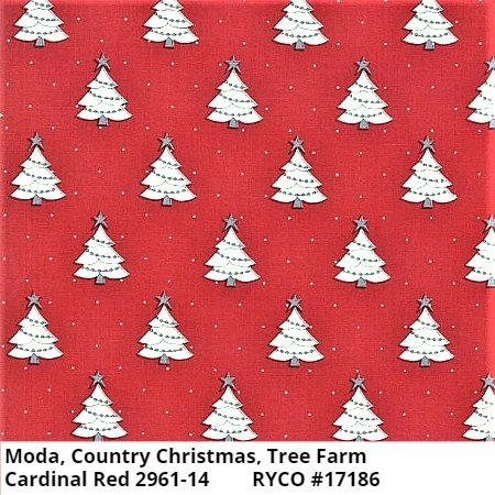 Moda Country Christmas Tree Farm Cardinal Red 2961-14