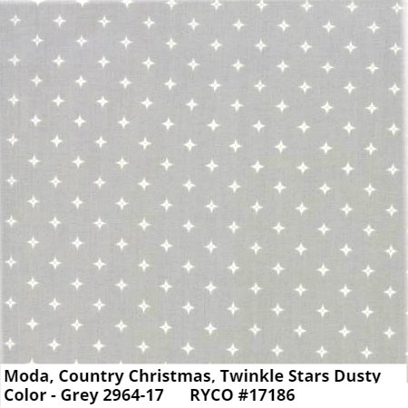 Moda Country Christmas Twinkle Stars Dusty Grey 2964-17
