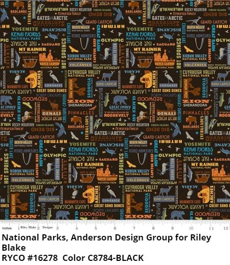 National Parks by Anderson Design Group for Riley Blake- Black