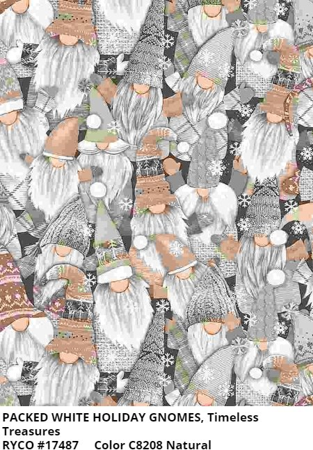 Packed White Holiday Gnomes by Timeless Treasures