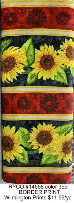 RYCO #14658 color 359 Jardin Du Soleil BORDER PRINT  Wilmington Prints