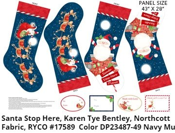 Santa Stop Here, Candy Cane Stocking Panel by Karen Tye Bentley for Northcott