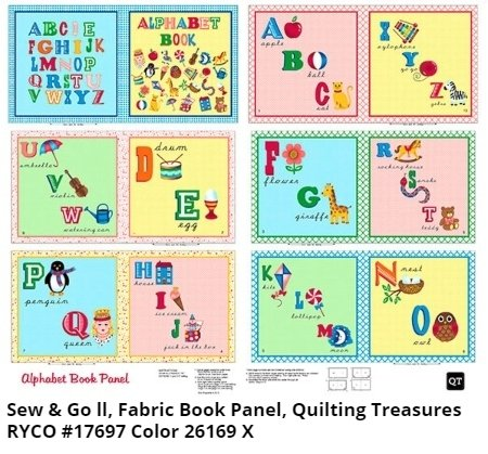 Alphabet Book Panel by Sew & Go II for Quilting Treasures
