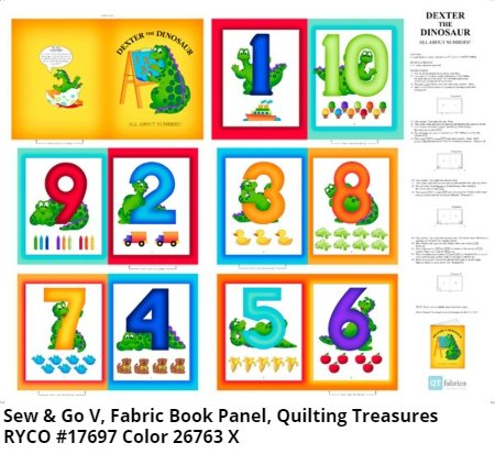 Dexter The Dinosaur Numbers Book Panel by Sew & Go V for Quilting Treasures