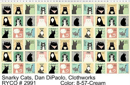 Snarky Cats by Dan Diapolo for Clothworks