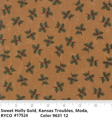Sweet Holly by Kansas Troubles for Moda Fabrics- Gold