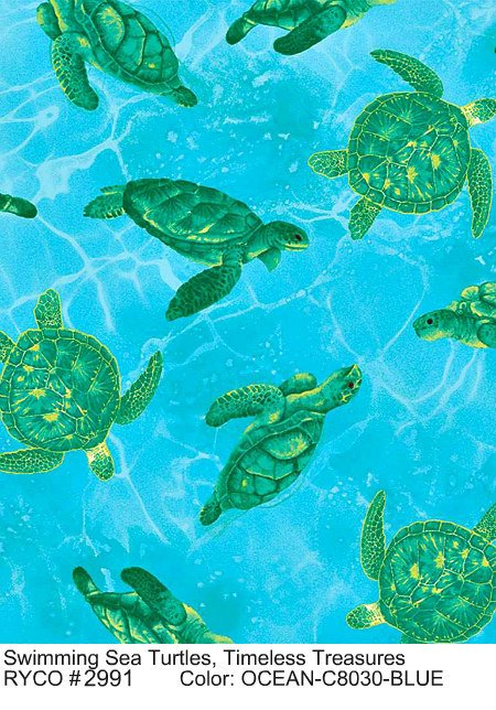 Swimming Sea Turtles by Timeless Treasures