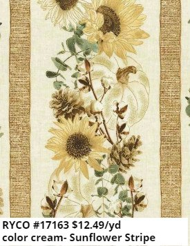 Cream Sunflower Stripe by Timeless Treasures (HARVEST-CM7693-CREAM)
