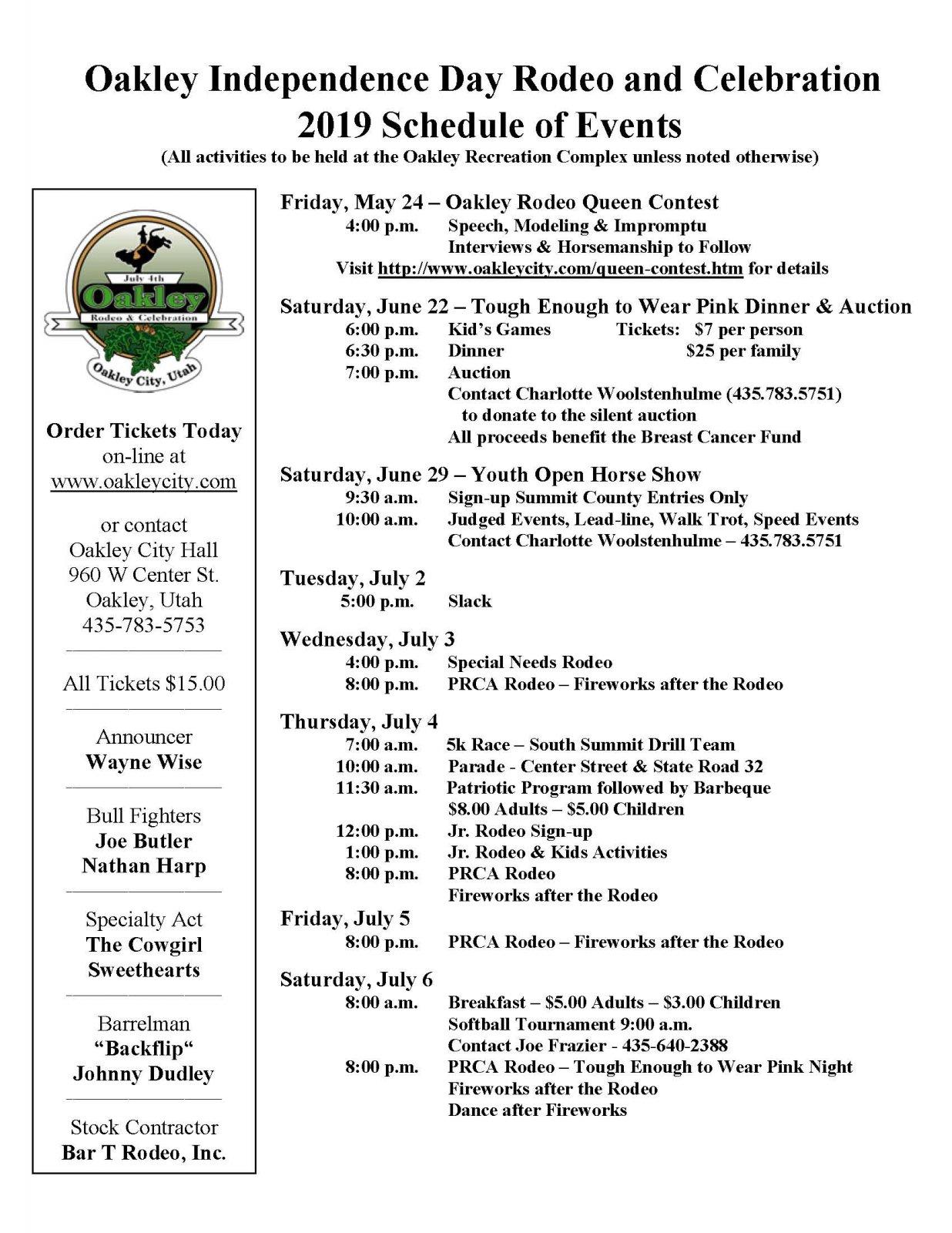 Prca Rodeo Schedule 2019 Celebration Schedule