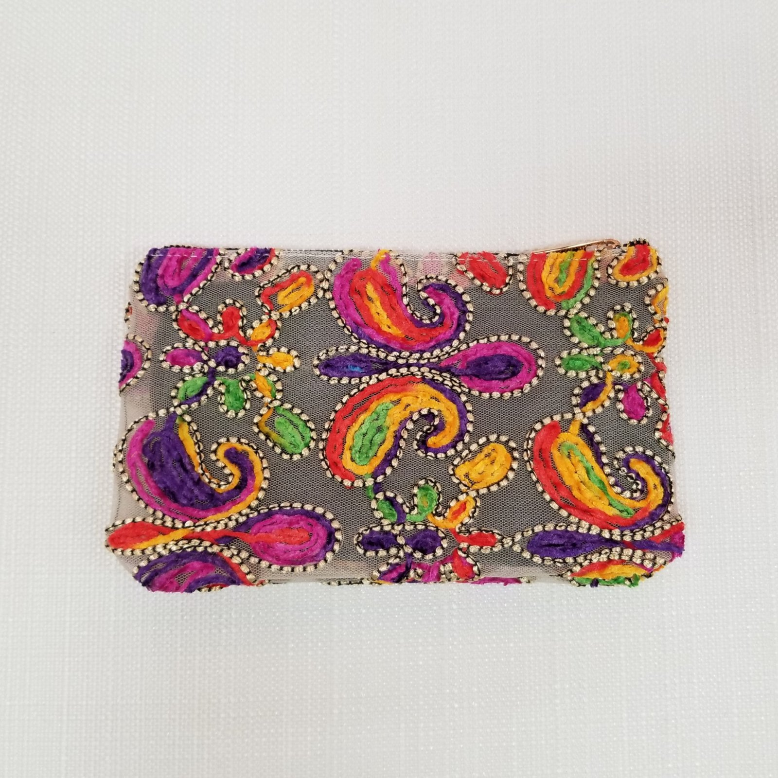 Paisley & Flower Mesh Pouch
