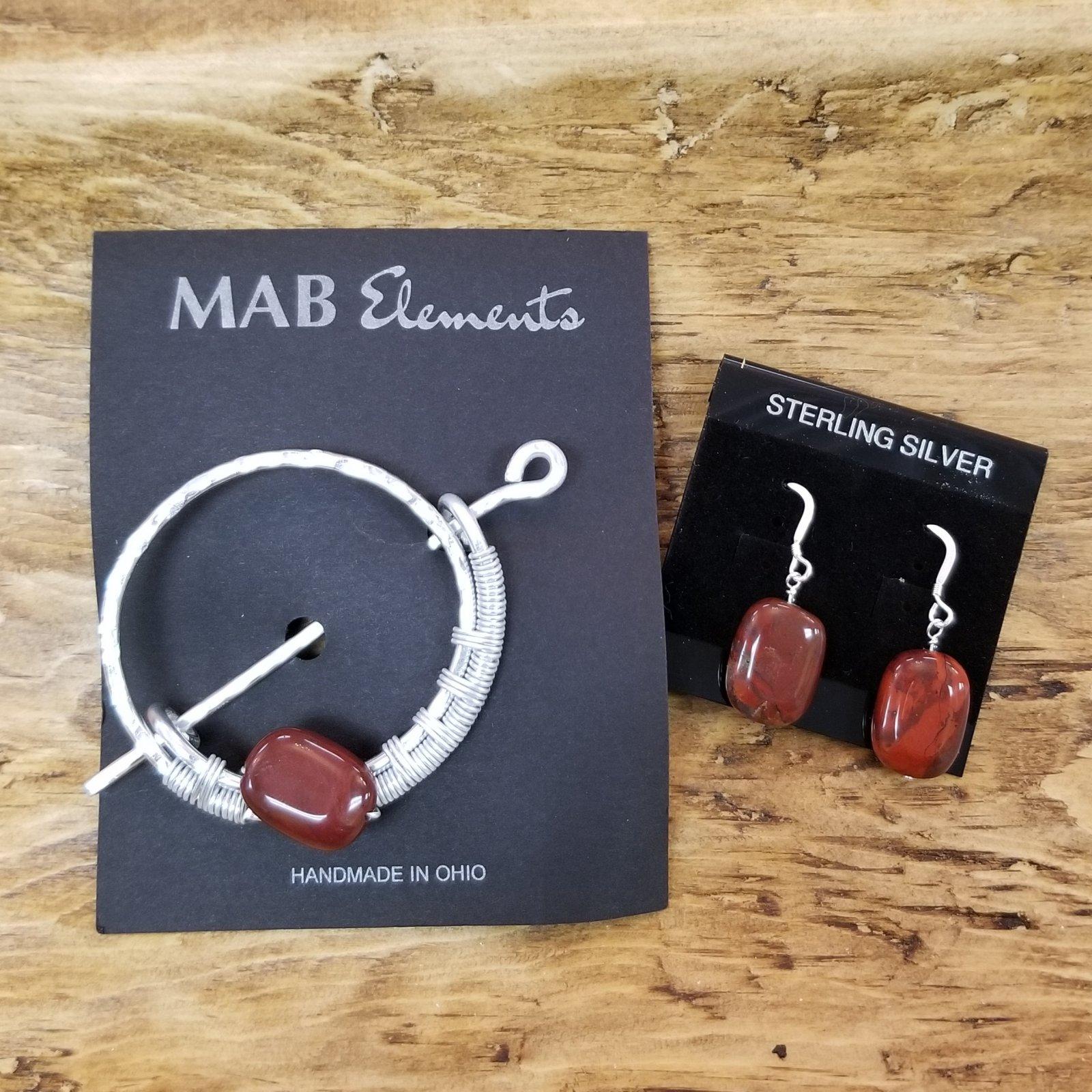 Precious Stone Shawl Pins and Earring Set