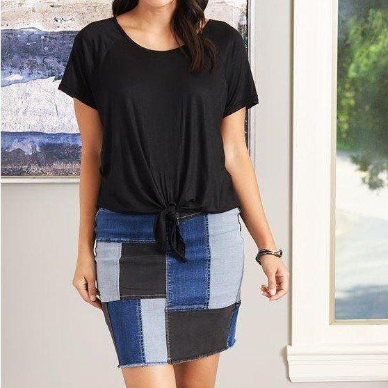 OMG Patchwork Denim Skirt