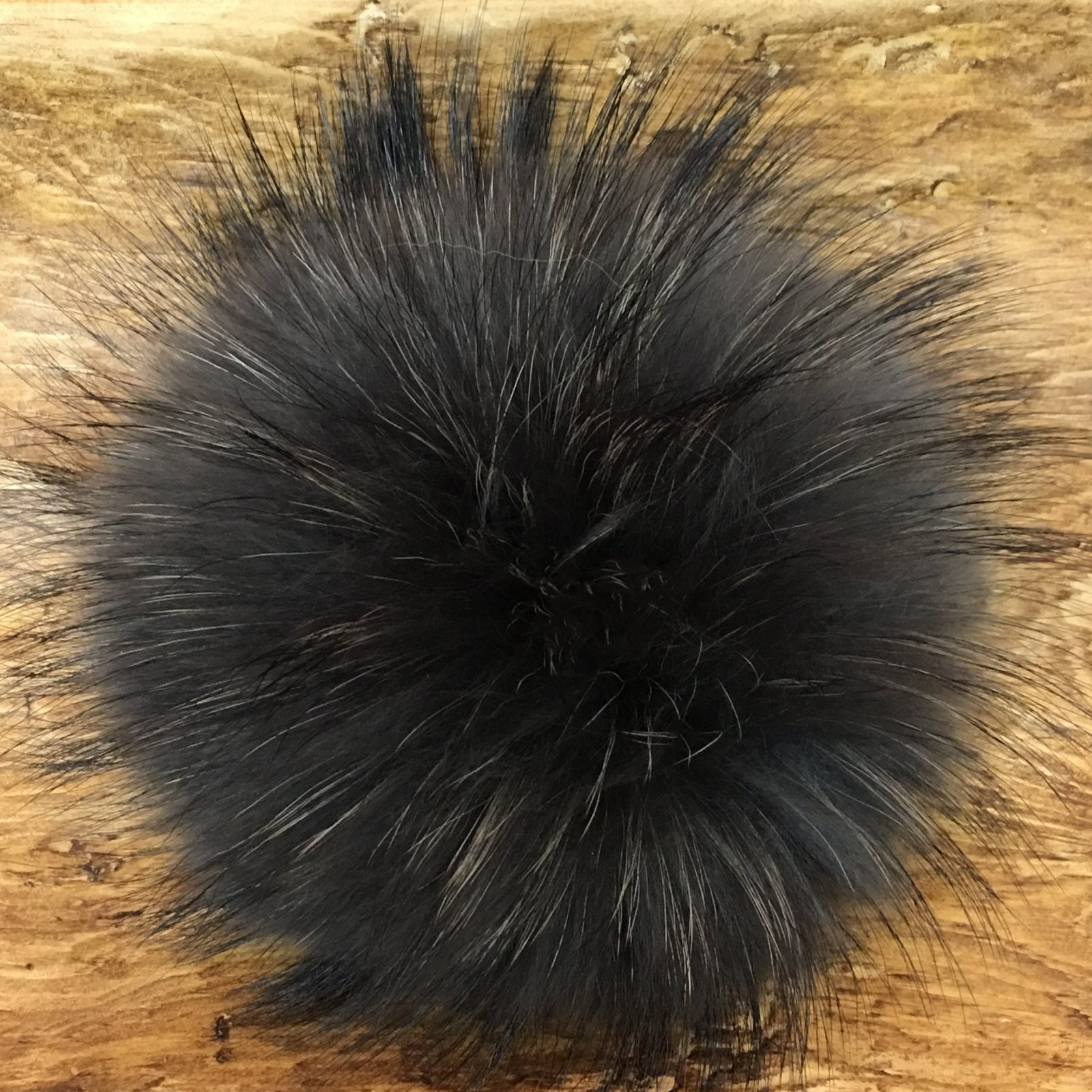 5 Raccoon Fur Pom Pom with Snap