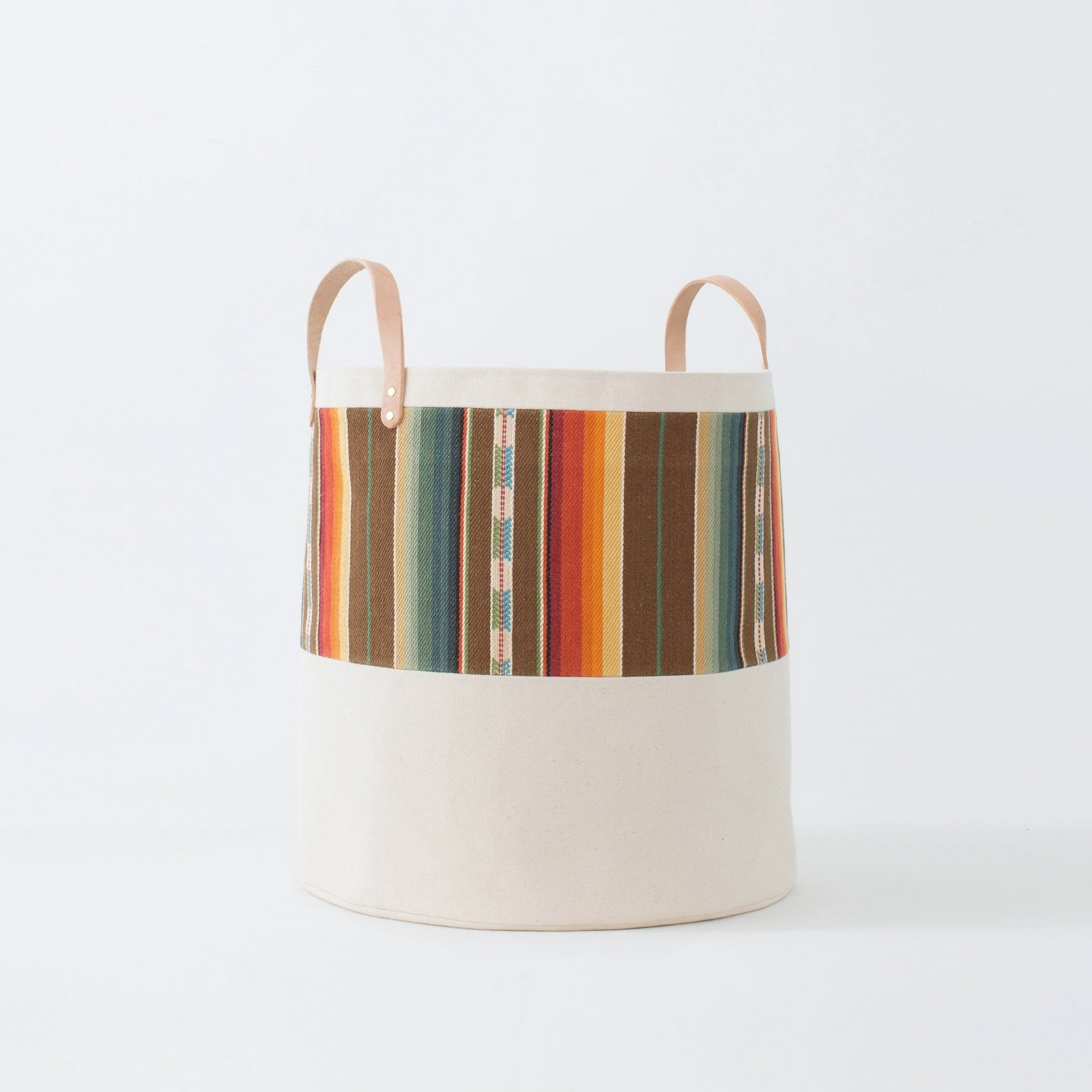 Large Striped Natural Canvas Bucket Basket