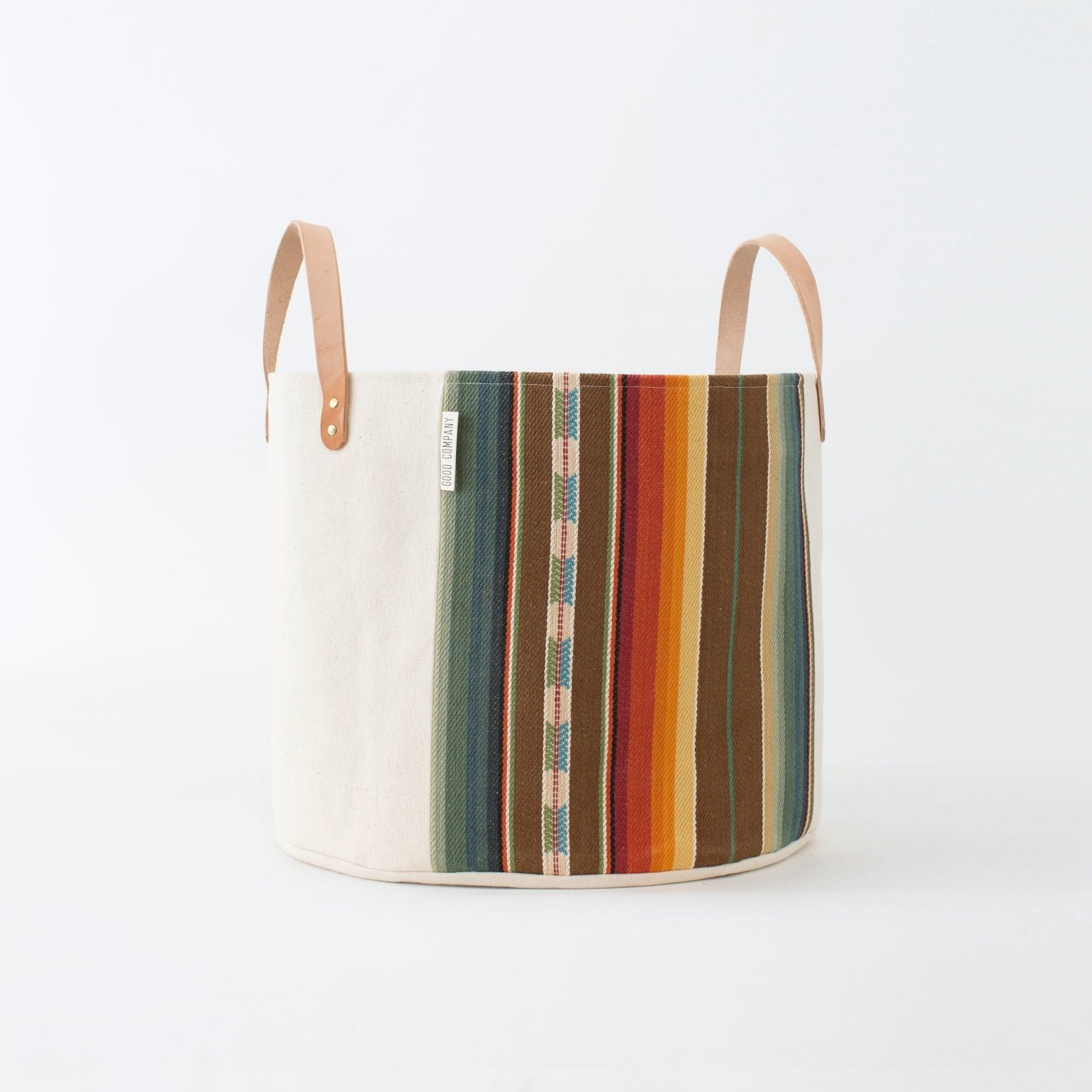 Medium Striped Natural Canvas Bucket Basket