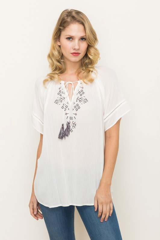 Mystree Embroidered Top