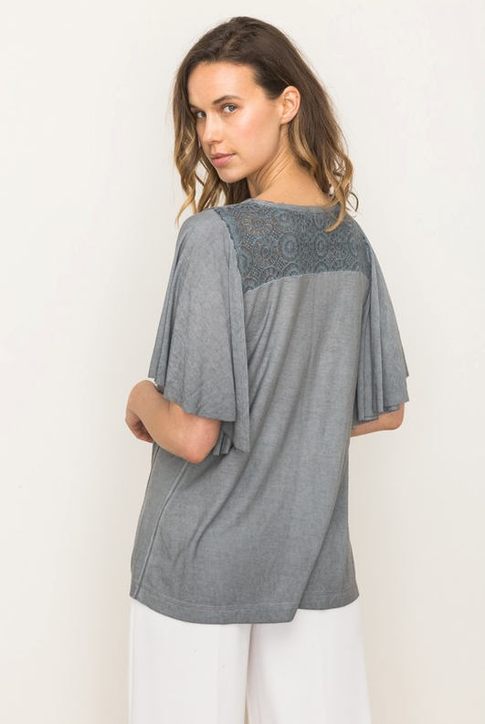 Mystree Grey Lace Accent Top