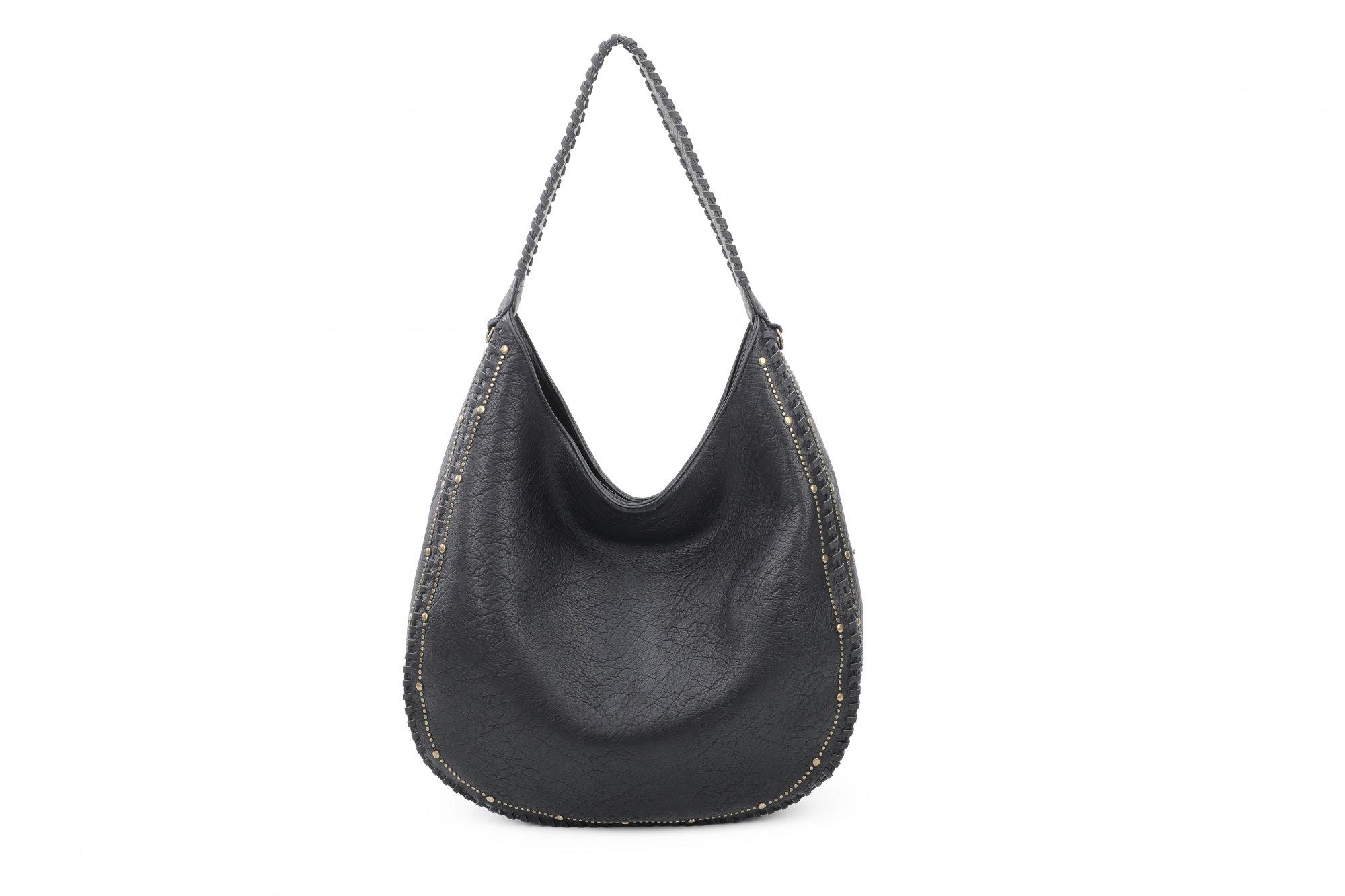 Vegan Leather Studded Hobo Bag