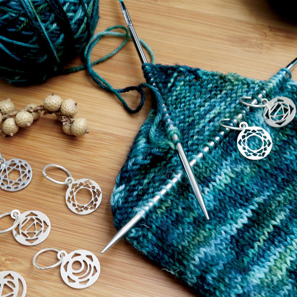Sterling Plated Stitch Markers - Mindful Collection