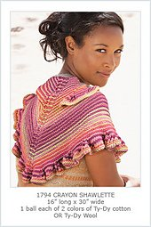 Ty-Dy pattern 1794 Crayon Shawlette from Knit One Crochet Too