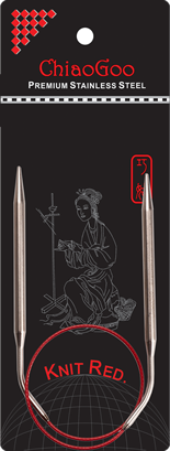 ChiaoGoo Knit Red Steel Circular Needles 05 tip