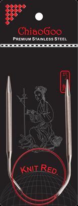 ChiaoGoo Knit Red Steel Circular Needles 08 tip