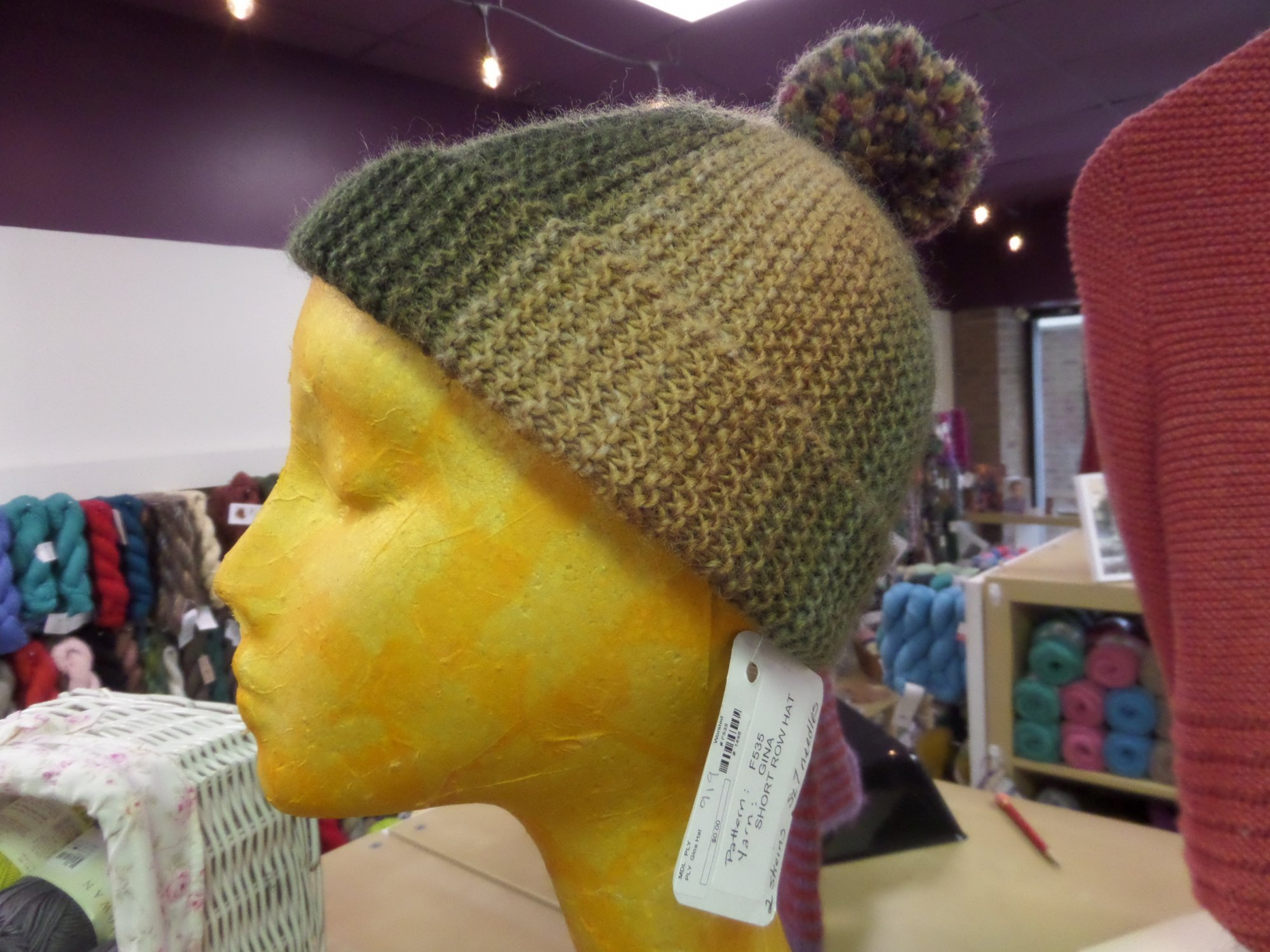 Short Row Hat model in Gina by Plymouth