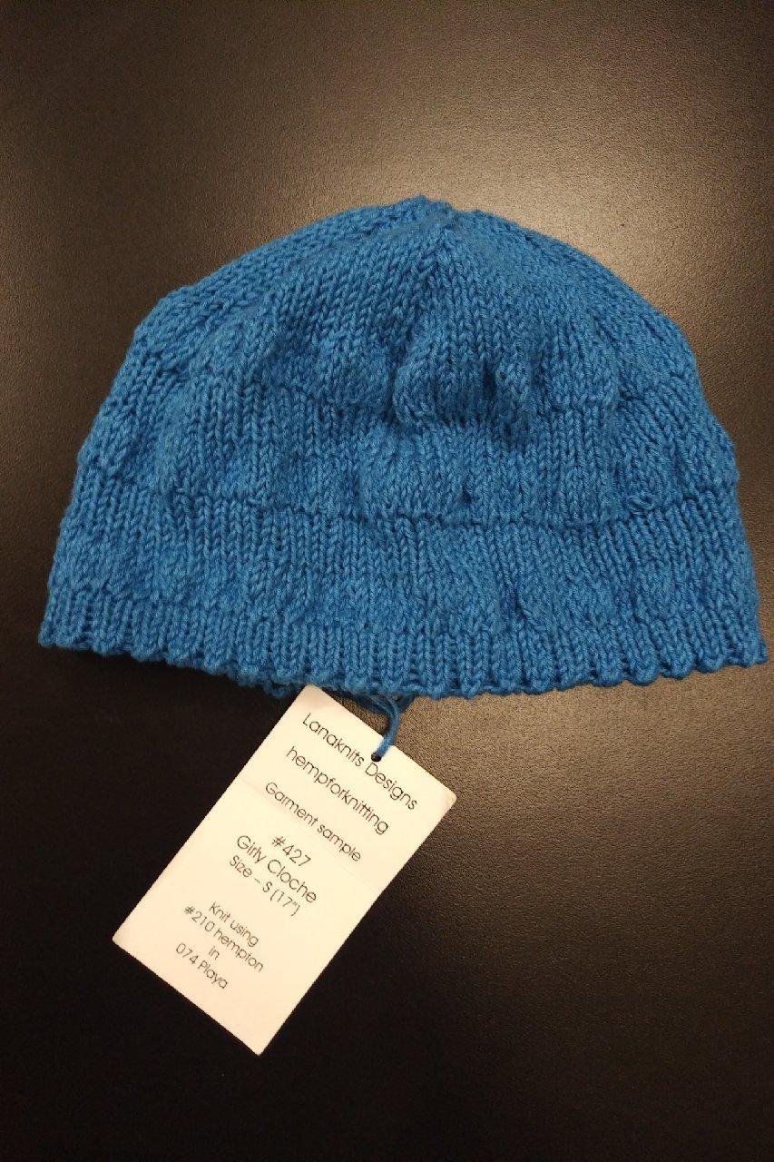 Girly Cloche hat model in Hempton from Lanaknits