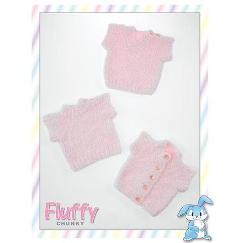 Fluffy Chunky pattern JB253 - Baby Pullovers and Cardigan from James C Brett