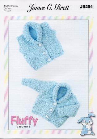 Fluffy Chunky pattern JB254 - Baby Cardigans from James C Brett