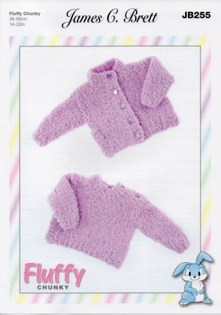 Fluffy Chunky pattern JB255 - Baby Cardigan and Pullover from James C Brett