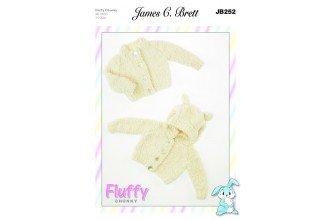 Fluffy Chunky pattern JB252 - Baby Cardigans from James C Brett