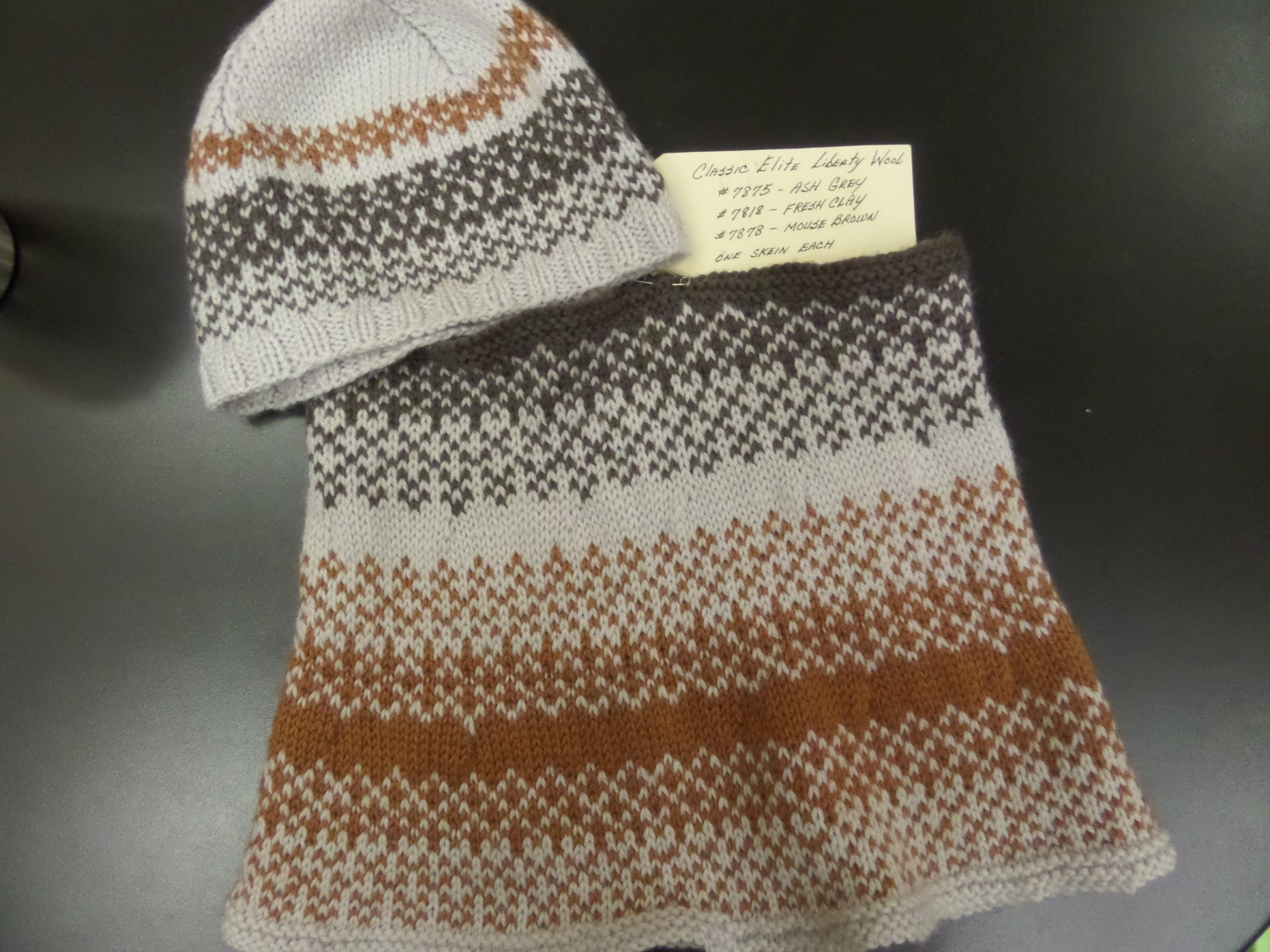 Sandpiper hat and cowl set model in Liberty Wool yarn from Classic Elite